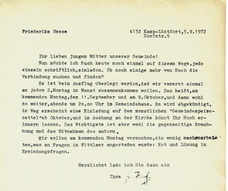 friederike hesse - kirche-hoerstgen, Einladungen
